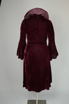 Dress, burgundy velvet with a standing collar and sleeve flounces, c. 1930, back view by Irma G. Bowen Historic Clothing Collection