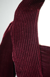 Dress, burgundy velvet with a standing collar and sleeve flounces, c. 1930, detail of collar quilting by Irma G. Bowen Historic Clothing Collection