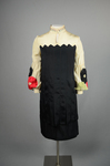 Dress, black silk charmeuse with cream silk yoke and sleeves, 1928, front view by Irma G. Bowen Historic Clothing Collection