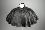 Cape, black silk satin with black bead embroidery, 1880s, front view by Irma G. Bowen Historic Clothing Collection