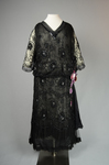 Dress, black silk chiffon with sequined allover lace, c. 1928, front view by Irma G. Bowen Historic Clothing Collection