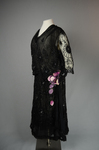 Dress, black silk chiffon with sequined allover lace, c. 1928, quarter view by Irma G. Bowen Historic Clothing Collection