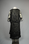 Dress, black silk chiffon with sequined allover lace, c. 1928, back view by Irma G. Bowen Historic Clothing Collection