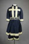 Bathing suit, navy wool with white braid, 1900-1910, front view by Irma G. Bowen Historic Clothing Collection