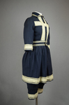 Bathing suit, navy wool with white soutache, 1900-1910, quarter view by Irma G. Bowen Historic Clothing Collection