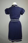 Bathing suit, navy wool with white soutache, 1904, back view by Irma G. Bowen Historic Clothing Collection