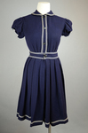 Bathing suit, navy wool with white soutache, 1904, front view by Irma G. Bowen Historic Clothing Collection