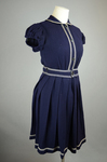 Bathing suit, navy wool with white soutache, 1904, quarter view by Irma G. Bowen Historic Clothing Collection