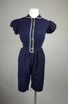 Bathing suit, navy wool with white soutache, 1904, without skirt by Irma G. Bowen Historic Clothing Collection