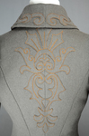 Coat, brown wool with leg-of-mutton sleeves and appliqué, 1894, detail of back appliqué by Irma G. Bowen Historic Clothing Collection