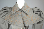 Coat, brown wool with leg-of-mutton sleeves and appliqué, 1894, detail of collar by Irma G. Bowen Historic Clothing Collection