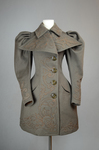 Coat, brown wool with leg-of-mutton sleeves and appliqué, 1894, front view by Irma G. Bowen Historic Clothing Collection