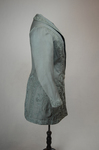 Coat, teal wool with cordwork, 1910-1915, side view by Irma G. Bowen Historic Clothing Collection