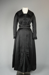 Dress, black ribbed double-faced satin trimmed with reverse side, 1910-1915, front view by Irma G. Bowen Historic Clothing Collection
