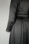 Dress, black ribbed double-faced satin trimmed with reverse side, 1910-1915, detail of sleeve and belt by Irma G. Bowen Historic Clothing Collection