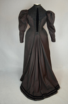 Aesthetic or reform dress in wine red and black ribbed silk and wool, c. 1892, back view by Irma G. Bowen Historic Clothing Collection