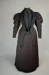 Aesthetic or reform dress in wine red and black ribbed silk and wool, c. 1892, front view by Irma G. Bowen Historic Clothing Collection