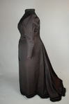Aesthetic or reform dress in wine red and black ribbed silk and wool, c. 1892, side view by Irma G. Bowen Historic Clothing Collection