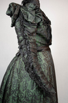 Dress, black leaf-patterned silk over mint green cotton, c. 1898, detail of sleeve by Irma G. Bowen Historic Clothing Collection