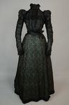 Dress, black leaf-patterned silk over mint green cotton, c. 1898, front view by Irma G. Bowen Historic Clothing Collection