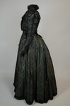Dress, black leaf-patterned silk over mint green cotton, c. 1898, side view by Irma G. Bowen Historic Clothing Collection