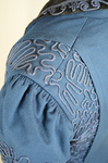 Wedding suit, blue wool with cord-work 1909, detail of shoulder seam by Irma G. Bowen Historic Clothing Collection