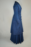 Wedding suit, blue wool with cord-work 1909, side view by Irma G. Bowen Historic Clothing Collection