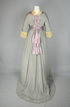 Aesthetic /Japonisme dress, Liberty & Co., gray silk crepe with embroidered mauve satin panels, 1906, back view by Irma G. Bowen Historic Clothing Collection