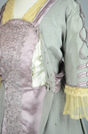 Aesthetic/Japonisme dress, Liberty & Co., gray silk crepe with embroidered mauve satin panels, 1906, detail of bodice interior 1 by Irma G. Bowen Historic Clothing Collection