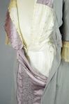 Aesthetic/Japonisme dress, Liberty & Co., gray silk crepe with embroidered mauve satin panels, 1906, detail of bodice interior 2 by Irma G. Bowen Historic Clothing Collection