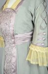 Aesthetic/Japonisme dress, Liberty & Co., gray silk crepe with embroidered mauve satin panels, 1906, detail of sleeve and front by Irma G. Bowen Historic Clothing Collection
