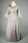 Aesthetic/Japonisme dress, Liberty & Co., gray silk crepe with embroidered mauve satin panels, 1906, front view by Irma G. Bowen Historic Clothing Collection