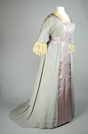 Aesthetic/Japonisme dress, Liberty & Co., gray silk crepe with embroidered mauve satin panels, 1906, quarter view by Irma G. Bowen Historic Clothing Collection