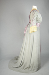 Aesthetic/Japonisme dress, Liberty & Co., gray silk crepe with embroidered mauve satin panels, 1906, side view by Irma G. Bowen Historic Clothing Collection