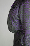 Dress, black silk open weave over purple silk taffeta, c. 1902, detail of see-through pouching by Irma G. Bowen Historic Clothing Collection