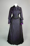 Dress, black silk open weave over purple silk taffeta, c. 1902, front view by Irma G. Bowen Historic Clothing Collection