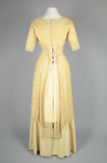 Dress, cream silk faille with ecru embroidered net, c.1910, back view by Irma G. Bowen Historic Clothing Collection