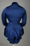 Bodice, blue silk faille with silk velvet panel and pleated peplum, 1890-1892, back view by Irma G. Bowen Historic Clothing Collection