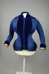 Bodice, blue silk faille with silk velvet panel and pleated peplum, 1890-1892, front view by Irma G. Bowen Historic Clothing Collection