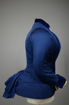 Bodice, blue silk faille with silk velvet panel and pleated peplum, 1890-1892, side view by Irma G. Bowen Historic Clothing Collection