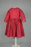 Boy's dress, wool challis printed red, with white polka dots, c. 1897, front view by Irma G. Bowen Historic Clothing Collection