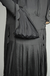 Dress, black silk with dropped waist and scalloped pleated panels, 1920s, detail of skirt by Irma G. Bowen Historic Clothing Collection