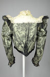 Bodice, black lace over green faille and pale green organdy with shoulder frills, pink beaded flowers, and sequins, c. 1898, back view by Irma G. Bowen Historic Clothing Collection