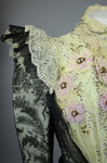 Bodice, black lace over green faille and pale green organdy with shoulder frills, pink beaded flowers, and sequins, c. 1898, detail of shoulder frill and bodice embellishments by Irma G. Bowen Historic Clothing Collection