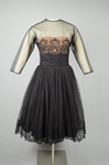 Cocktail dress, black point d'esprit with lace over black rayon lining, 1950s, front view by Irma G. Bowen Historic Clothing Collection