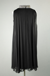 Cocktail dress, sleeveless A-line with black crepe and black chiffon overlay, with a rhinestone collar, 1960s, back view by Irma G. Bowen Historic Clothing Collection