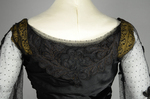 Dress, black silk satin and point d'esprit bobbinet with organdy and cord appliqué, c. 1915-1918, detail of back neckline by Irma G. Bowen Historic Clothing Collection