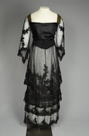 Dress, black silk satin and point d'esprit bobbinet with organdy and cord appliqué, c. 1915-1918, front view by Irma G. Bowen Historic Clothing Collection