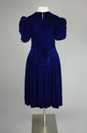 Dress, blue velvet with smocked waist and shoulders, 1938, back view by Irma G. Bowen Historic Clothing Collection