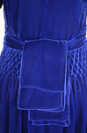 Dress, blue velvet with smocked waist and shoulders, 1938, detail of bow by Irma G. Bowen Historic Clothing Collection